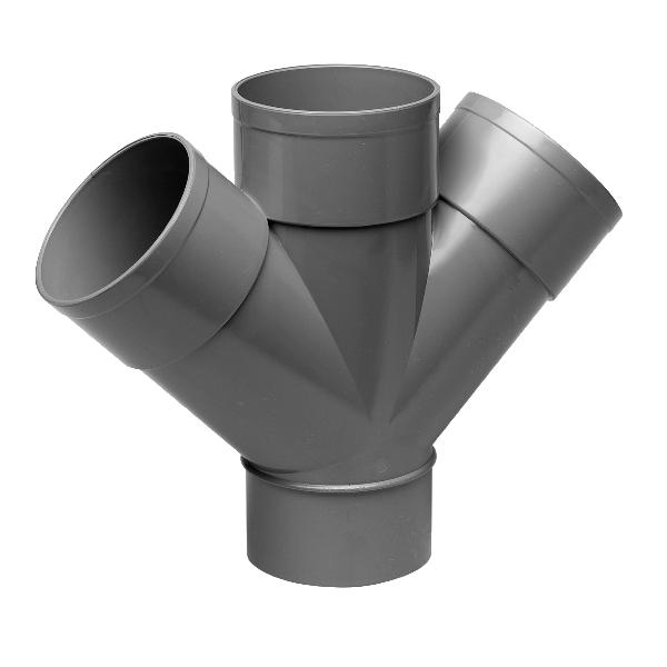 Derivación doble plano PVC evacuación